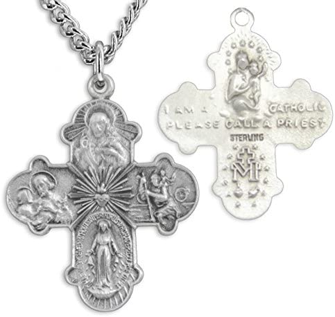 PicturesOnGold.com Jesus Mary Joseph Religious Medal Solid 14K White Gold 1 Inch Size of a Quarter