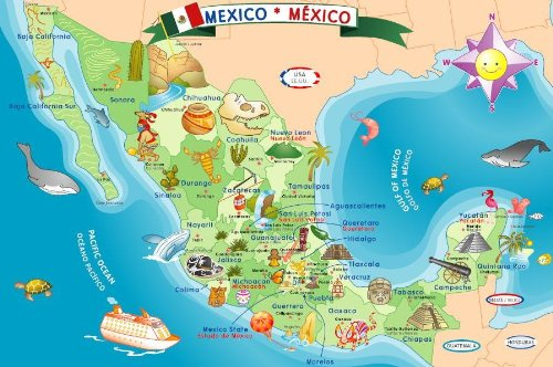 Amazon Com Ingenio Mexico Map Bilingual Learning Puzzle Toys Games