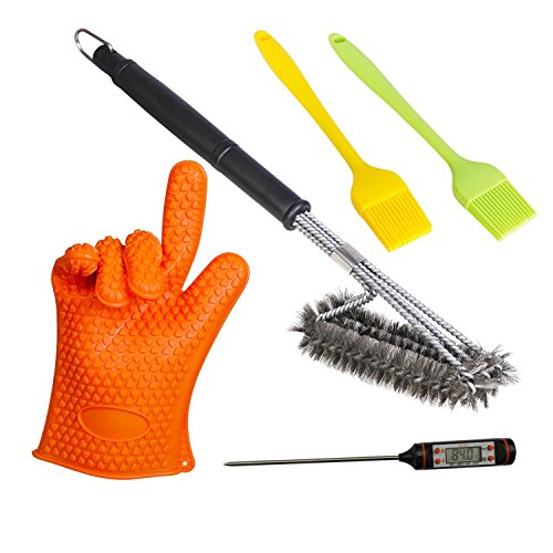 Besula Essential Barbeque Accessories That Will Make Your Grilling EasyGrill Brush,Silicon Grill Brush,Meat Thermometer,One Grill Glove,A Perfect Package For All Barbecue Lovers [5-Pack]