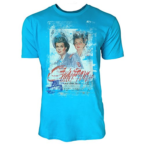 SINUS ART® Twins Herren T-Shirts in Karibik blau Cooles Fun Shirt mit tollen Aufdruck