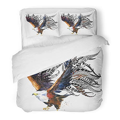 Emvency Bedding Duvet Cover Set Twin (1 Duvet Cover + 1 Pillowcase) Watercolor Abstract Eagle Bird for Anti Stress Coloring Page Ethnic for Tattoo Tee Hotel Quality Wrinkle and Stain Resistant