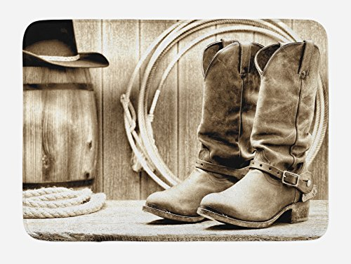 Ambesonne Western Bath Mat, American West Themed Photograph Focused on Boots in Front of Cask and Ropes, Plush Bathroom Decor Mat with Non Slip Backing, 29.5