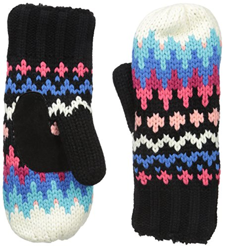 Isotoner Women's Chunky Cable Knit SherpaSoft Mittens,  Black Pattern,  One Size