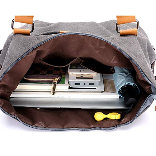HVTKL Den nya pendlaren kvinnlig kanvasväska stor väska kanvasväska casual sport kläder väskor handväskor axelväska messenger (färg: Brun) Brun