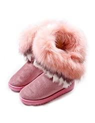 Mirah June Women's Pull-on Faux Suede Long Fur Winter Snow Boots