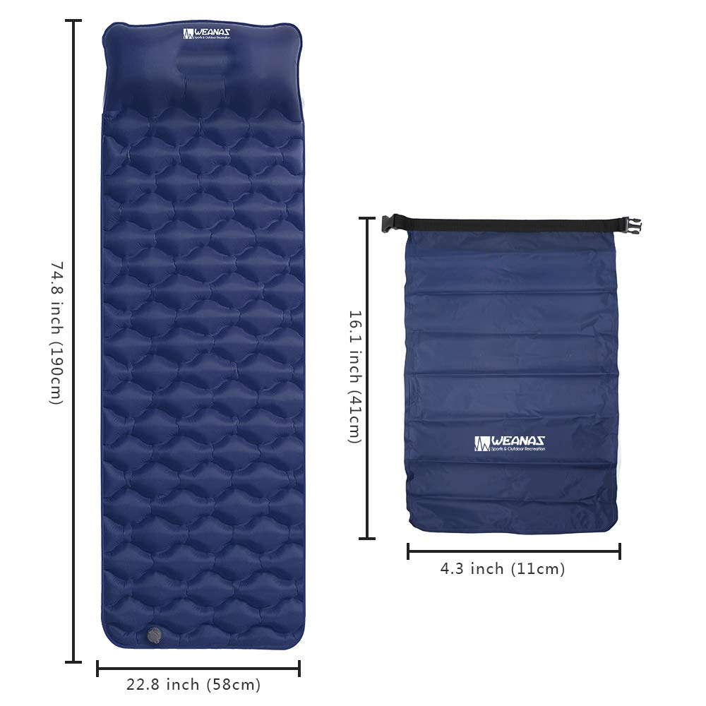 Weanas Camping Sleeping Pad Backpacking Waterproof Inflatable Camping Mat with Pillow and Storage Bag Ultralight Compact Air Mattress for Hiking Traveling