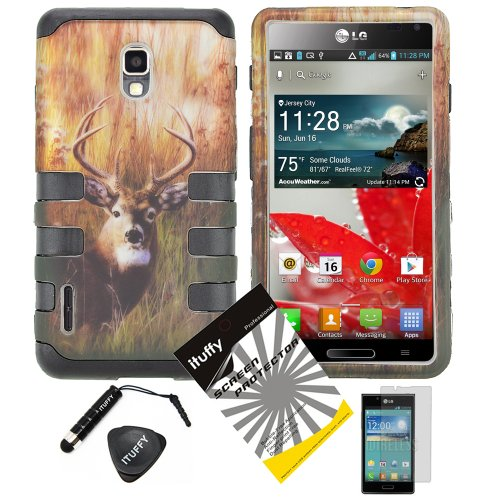 4 items Combo: ITUFFY (TM) LCD Screen Protector Film + Mini Stylus Pen + Case Opener + Outdoor Wild Deer Grass Camouflage Design Rubberized Hard Plastic + Soft Rubber TPU Skin Dual Layer Tough Hybrid Case for Boost Mobile / US Cellular LG Optimus F7 US780 LG870 (Lg Optimus F7 Rubber Phone Case)