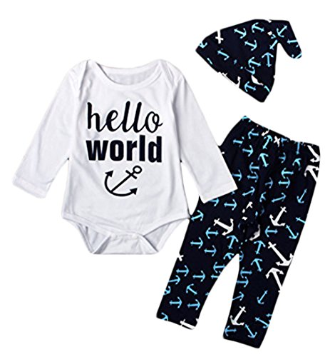 Infant Boys Navy Style Hello World Print Romper and Anchor Leggings with Cap Size 0-6 Months/70cm (Dark Blue)