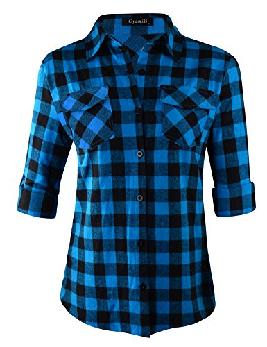 Oyamiki Women's Casual Loose Checkered Plaid Button Down Top