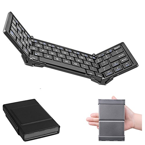 Slim Aluminum Wireless Bluetooth Keyboard For IOS Android PC + Leather Case Black - 6