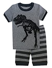 Family Feeling Dinosaur Little Boys Shorts Set Pajamas 100% Cotton Clothes Kids 7