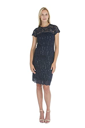 be0c1f6edbd5 ONYX Nite Women's Short Scallop Sleeve & Hem Sequin Lace Sheath Dress at  Amazon Women's Clothing store: