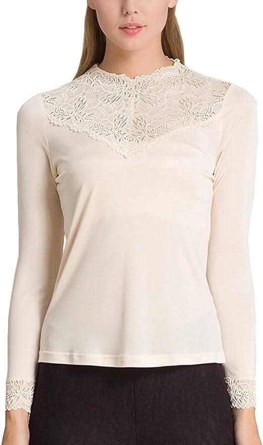 Valin HS1145 - Blusa de seda para mujer, cuello redondo, sin ...