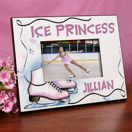 "Personalized Ice Skating Printed Frame, Holds a 3.5"" x 5"" or 4"" x 6"" Photo"