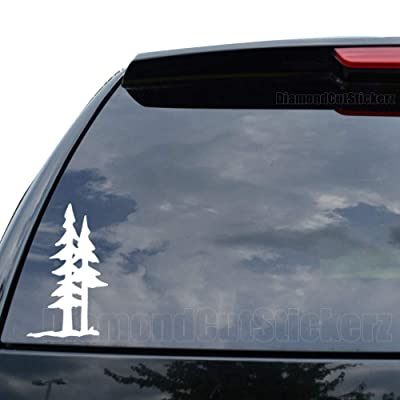 DiamondCutStickerz Pine Trees Forest Mountain Decal Sticker Car Truck Motorcycle Window Ipad Laptop Wall Decor - Size (05 inch / 13 cm Tall) - Color (Matte White): Home Improvement