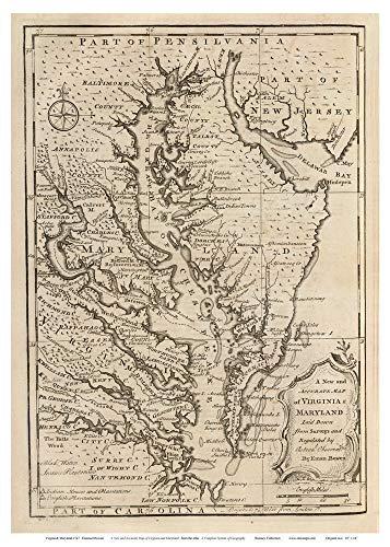 Chesapeake Bay 1747 Bowen Map Reprint