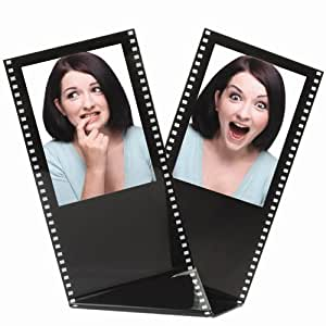 "Black Acrylic Film Strip Standing Wallet Size Photo Frame, Holds Two 2.5"" x 3.5"" Photos"
