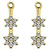 1/7 ct. Forever Brilliant Moissanite by Charles Colvard Moissanite Flower Dangle Earring Jackets in Yellow Plated Sterling Silver (0.13 ct. twt.)
