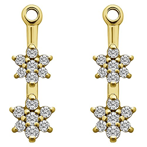 1/7 ct. Forever Brilliant Moissanite by Charles Colvard Moissanite Flower Dangle Earring Jackets in Yellow Plated Sterling Silver (0.13 ct. twt.) by TwoBirch
