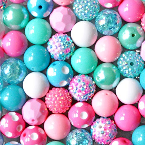 20mm Pink and Turquoise Confetti Chunky Bubblegum Beads Bulk Mix
