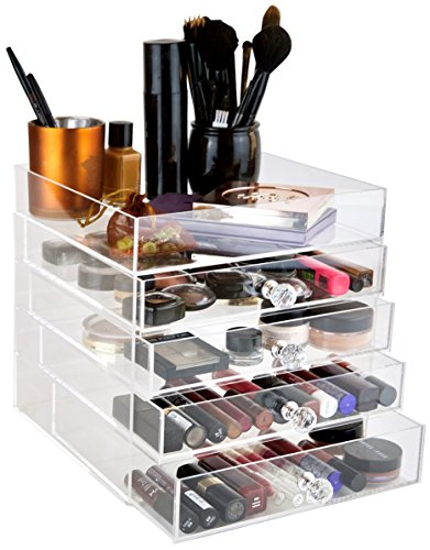 Crystal Clear Cosmetics - daisi Acrylic Cosmetic Makeup & Jewelry Cube Organizer | 5 Tiers - 4 Drawers & Open Top Compartment Shelf | Large Clear Display Case for Beauty Products | Stylish Storage Box with Crystal Knobs