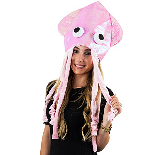 Squid Hat - Funny Fun and Crazy Hats in Many Styles - Funny Party Hats (Shiny Pink Squid Hat)