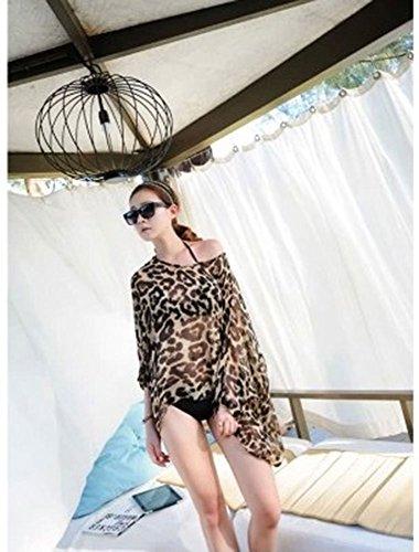 Kobwa(TM) Hot Off Shoulder Dolman Sleeve Leopard Print Chffion Swimwear Cover Up With Kobwa's Keyring