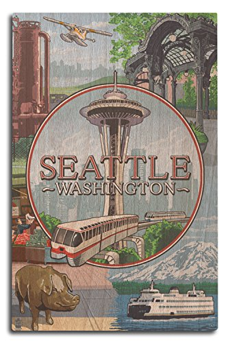 Lantern Press Seattle, Washington - Scenes Montage (10x15 Wood Wall Sign, Wall Decor Ready to -