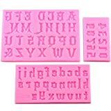 Mujiang Number Chocolate Mould Silicone Letter Mold Candy Making Alphabet Fondant Molds Set of 3