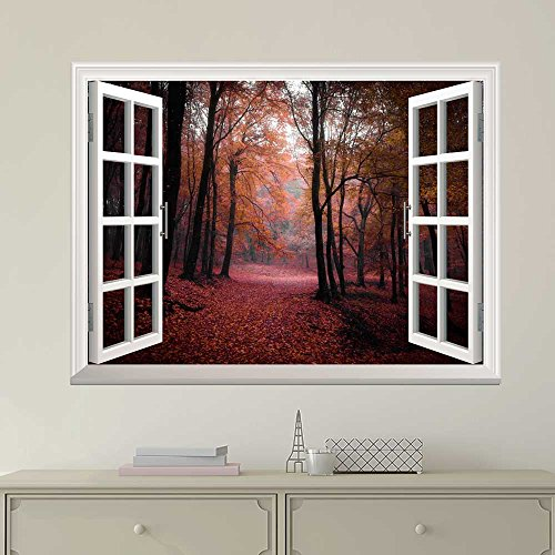 White Window Looking Out Into a Red Road That Leads to an Orange Forest Wall Mural