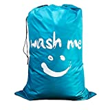 "WISHPOOL Nylon Portable Laundry Bag with Drawstring Collapsible Heavy Duty College Dirty Clothes Storage Bag 24"" × 36.2"" (Blue)"
