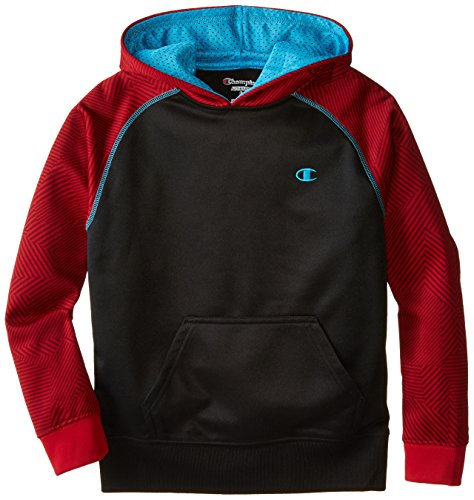 Black Label Printed Hoodie - Champion Big Boys' Printed Pullover Hoodies, Tango Red Print/Black/Atomic Blue, Medium