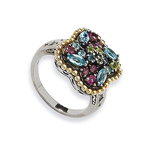 Tw Multi Gemstone Ring (Sterling Silver W/14k 1.59tw Multi Gemstone Ring, Size 8)