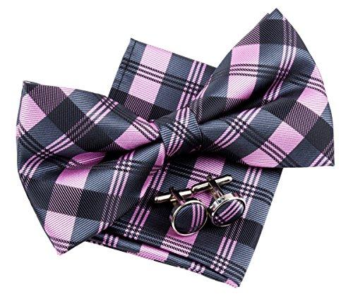 (Retreez Tartan Check Patterns Woven Microfiber Pre-tied Bow Tie (Width: 5