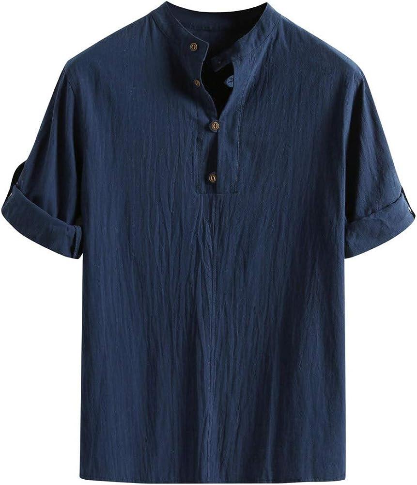 YGbuy-Camisa De Mangas 3/4 De Color Liso para Hombres, con Cuello ...