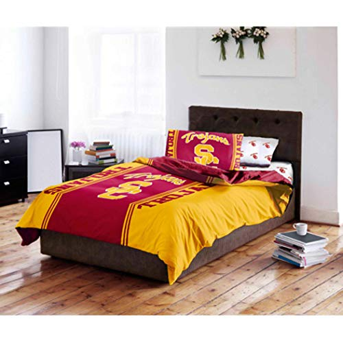 5 Piece NCAA USC Trojans Comforter Set Full Sized, Red Yellow Multi Sports Patterned, Collegiate Football Themed Bedding, Team Logo Fan Merchandise Athletic Team Spirit Fan, Polyester, for Unisex