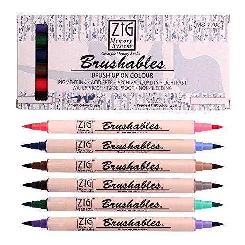 (Kuretake ZIG Memory System Dual Brush Tip Marker, Brushables, 6-Pack )