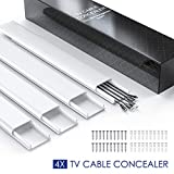 Tools & Hardware : TV Cable Concealer, 62.8in Cord Cover on Wall, PVC Paintable Cable Cover Raceway Kit to Organize Cables to Wall Mounted Flat Screen TVs, 4 x Wire Hider Channel, L15.7in W2.36in H0.75in Each, CC07