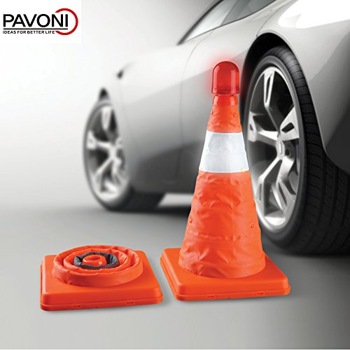 PAVONI Orange Safety Cone with LED Light (1 Pc.) Roadside Emergency, Industrial, and Construction Use | Car, Truck, and Vehicle Travel | Quick Pop-Up and Collapsible