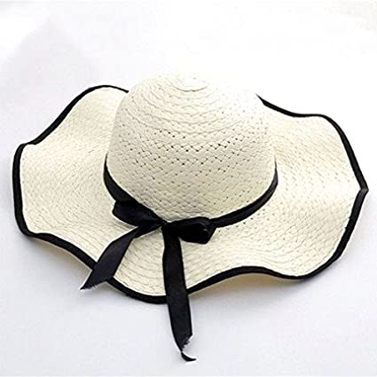 16d0804a92462c Image Unavailable. Image not available for. Color: Fashionable Design  Summer Round Flat Top Beach Charming Ladies Casual Sunscreen Beach Cap  Straw Sun Hat