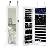 Space Save Jewelry Cabinet - Large Storage Capacity- Lockable Jewelry Armoire With Mirror - LED Jewelry Holder Organizer Wall Door Mount