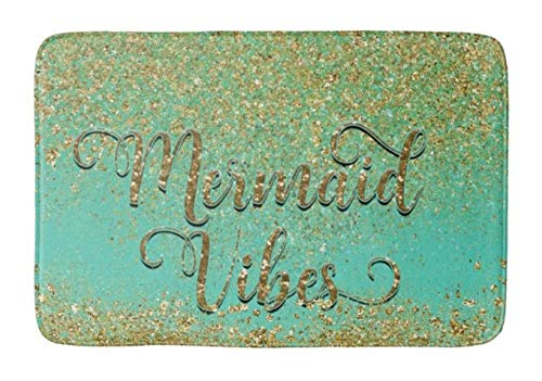Lovestand-Doormat Welcome Mat Indoor/Outdoor Bath Floor Rug Decor Art Print with Non Slip Backing 16X24 inch Cascading Gold Glitter Teal Aqua Mermaid Vibes Bathroom mat