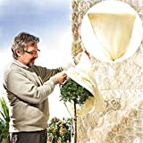 Drawstring Plant Cover Frost Protection Bag Breathable Warm Cover Protecting Fruit Tree Potted Plants from Freeze Pests Damage for Yard Garden Winter (31'' x 23'')