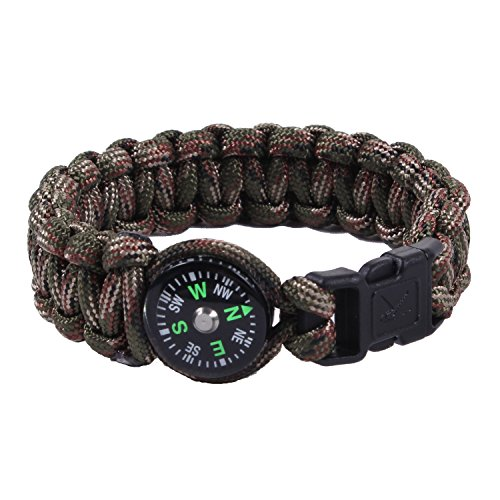 Rothco Paracord/Compass Bracelet, Woodland Camo, 7''