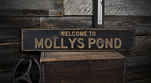 The Lizton Sign Shop Welcome to Mollys Pond Vermont, wood lake house rustic hand made vintage wooden sign - 5.5 x 24 Inches -