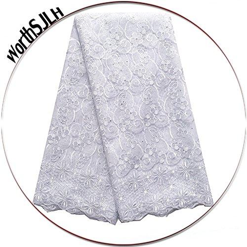 Worthsjlh 5 Verges Perles Tissu Africain Dentelle Française Brodé Et Strass Tulle Tissus De Dentelle De Mariage Pour Les Robes Lf845 (bleu Ciel) Blanc