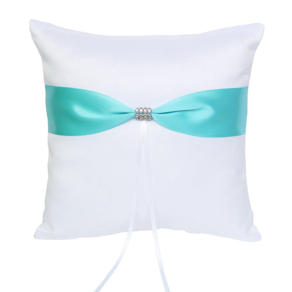 ARKSU 4pcs Wedding Sets Flower Girl Basket + Ring Bearer Pillow + Guest Book Pen + Pen Set Holder Rustic Bridal Wedding Shower Ceremony-Aqua Blue by ARKSU (Image #1)