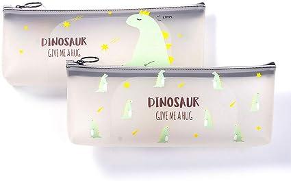 2 bolsas de lápices de dinosaurio, lindo estuche de silicona transparente con cremallera, bolsa de maquillaje de viaje para oficina y escuela de papelería: Amazon.es: Oficina y papelería