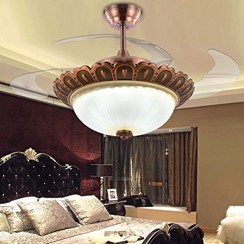 RS Lighting Retro European Bronze Bedroom Ceiling Fans with Lights Rmote Control 4 Retractable Blades Chandelier with Fan for Dining Room Living Room Lighting Replacement