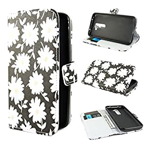 TJA White flowers Design Wallet PU Leather Stand Flip Case Cover for LG G2